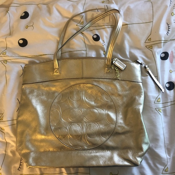 Coach Handbags - Coach Laura Gold Leather Tote NWT Metallic